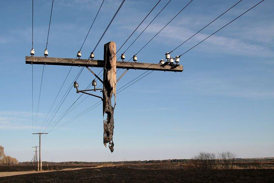 burned out utility pole